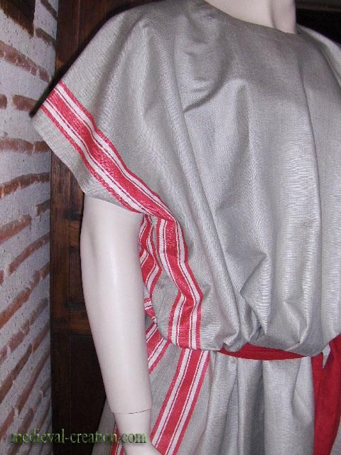 XXL Roman Tunic red stripes woven Linen