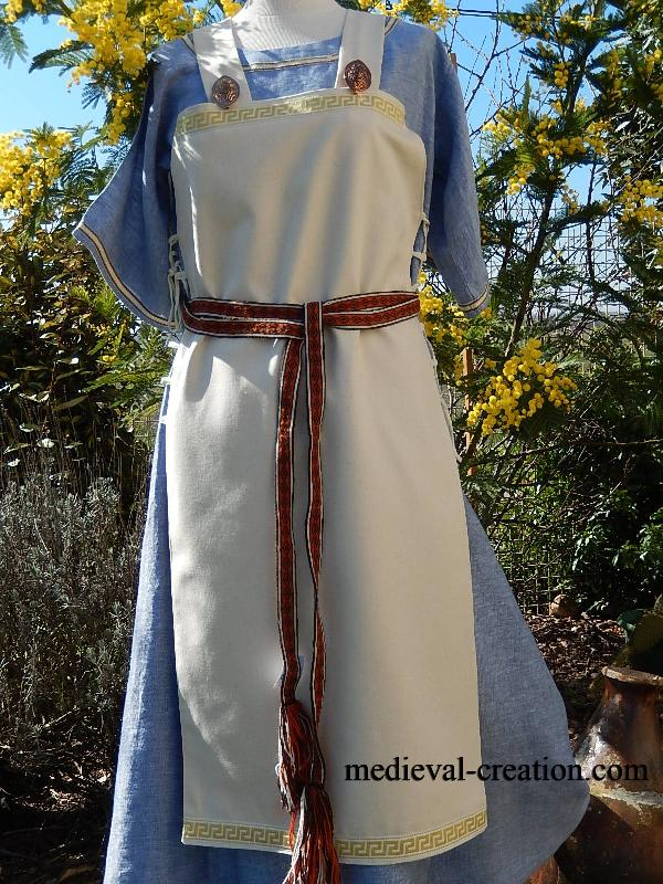 Costume Viking Normand Saxon Tablier Robe LIN